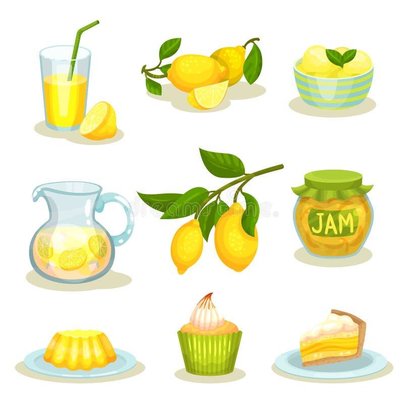 Плоский комплект вектора еды и пить лимона Яркие желтые цитрусовые фрукты Вкусные десерты и свежий лимонад иллюстрация вектора