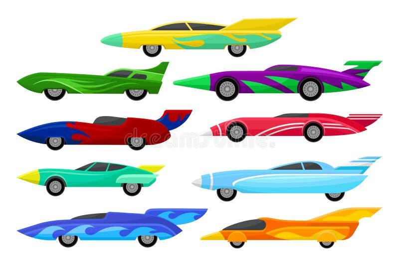 Плоский комплект вектора красочных гоночных автомобилей Винтажные автомобили с спойлерами Весьма автоматический спорт Элементы дл иллюстрация вектора