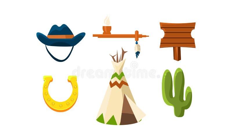 Плоский комплект вектора красочных элементов Диких Западов Шляпа ковбоя s, подкова, труба мира, вигвам, деревянный знак и зеленый бесплатная иллюстрация