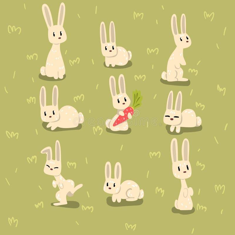 Плоский комплект вектора малого зайчика в различных представлениях на зеленую траву Смешное животное с длинными ушами Элементы дл иллюстрация штока