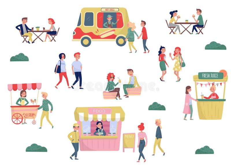Плоский комплект вектора молодые люди и фаст-фуда улицы Время перерыва на чашку кофе и обеда Тележка мороженого, тележка горячей  иллюстрация вектора