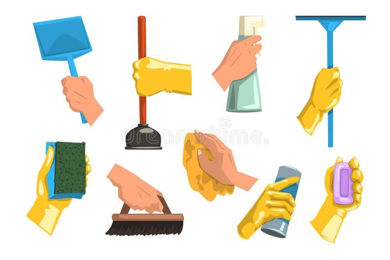 Плоский комплект вектора поставек чистки Человеческие руки держа ветошь, пластичный ветроуловитель, бутылки с жидкостью и порошок иллюстрация вектора