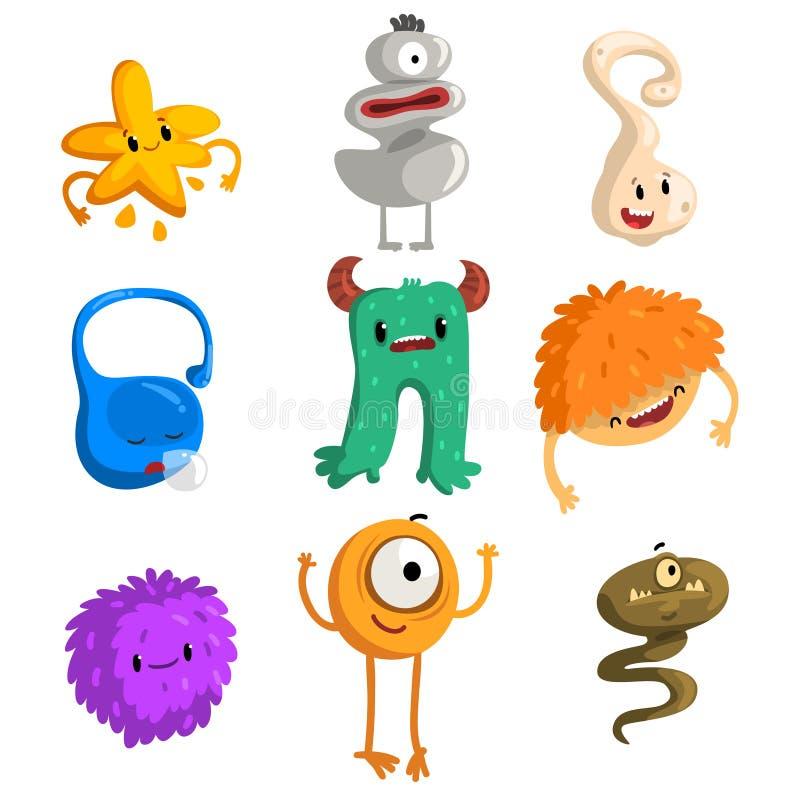 Плоский комплект вектора смешных маленьких извергов Твари шаржа фантастические для книги детей, передвижной игры, печати или откр иллюстрация вектора