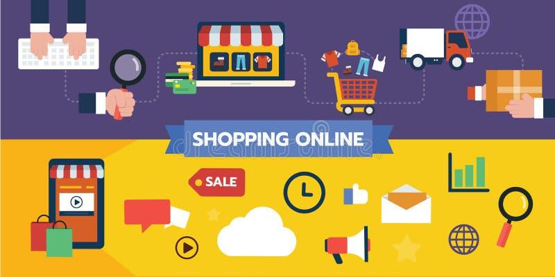 Плоский комплект дизайна значка иллюстрации ходя по магазинам онлайн концепций, подача потребителя приобретения и оплата бесплатная иллюстрация