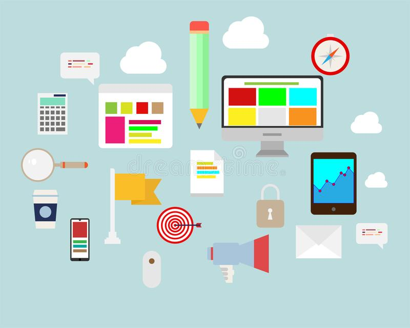 Плоский комплект дизайна Сообщение, компьютер, сообщение, Infographics и значки дела иллюстрация штока