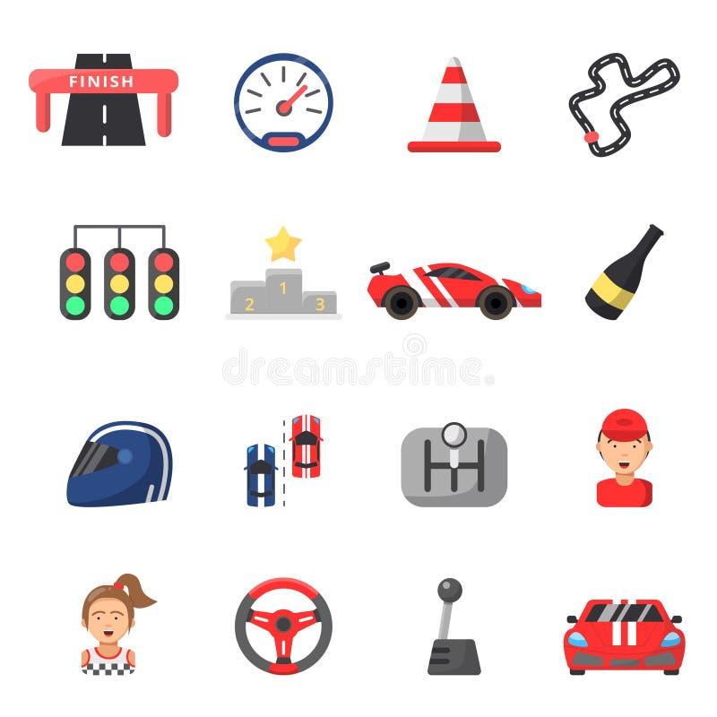Плоский комплект значка автомобилей формулы 1 и символов гонок иллюстрация штока