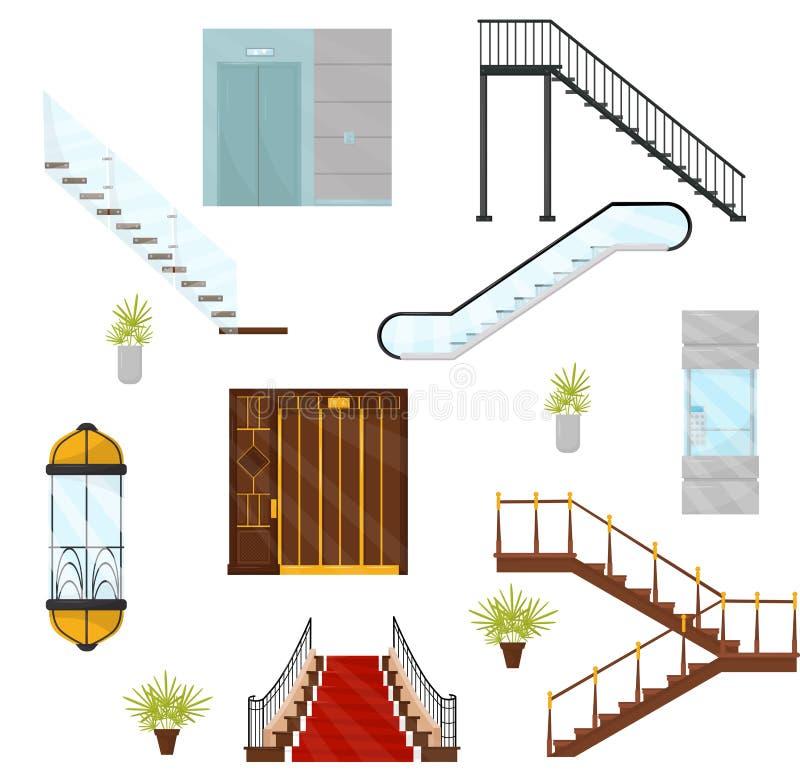 Плоский комплект vectoe различных лифтов и лестниц Кабины механически подъемов, современных лестниц и moving лестницы иллюстрация штока