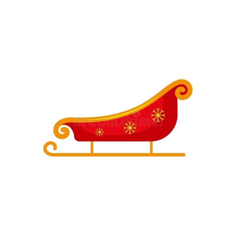 Плоский красный цвет стиля, сани Санты золота, значок рождества иллюстрация вектора