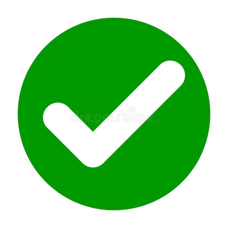 Плоский круглый значок зеленого цвета контрольной пометки, кнопка Символ тикания изолированный на белой предпосылке иллюстрация штока