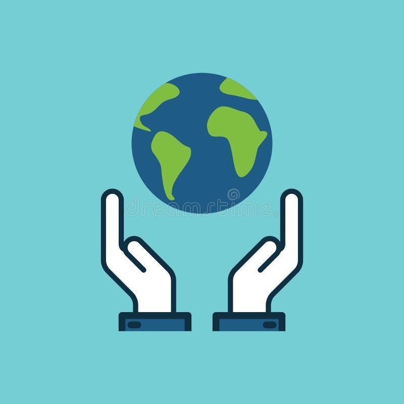 Плоский мир спасения цвета, земля в значке рук иллюстрация вектора