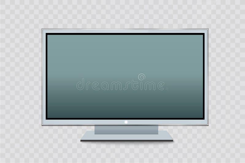 Плоский монитор приведенный компьютера или черной рамки фото изолированных на прозрачной предпосылке Vector пустой экран lcd, пла иллюстрация штока