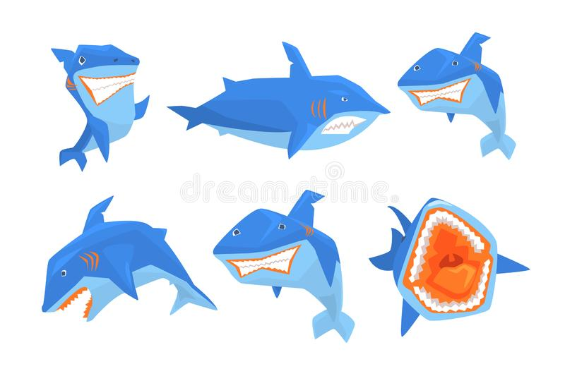 Плоский набор вектора большой голубой акулы Морские рыбы с острыми зубами и большое ребро на задней части Элементы для стикеров и бесплатная иллюстрация