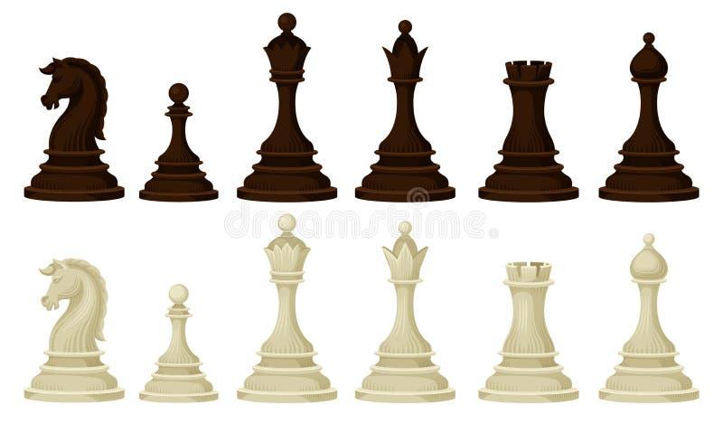 Плоский набор вектора деревянных шахматных фигур Браун и бежевые диаграммы стратегической настольной игры бесплатная иллюстрация