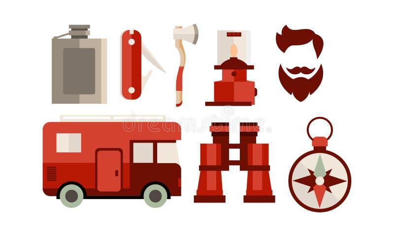 Плоский набор вектора значков связанных с темой располагаться лагерем и перемещения Жилой фургон, стрижка хипстера, инструменты и бесплатная иллюстрация