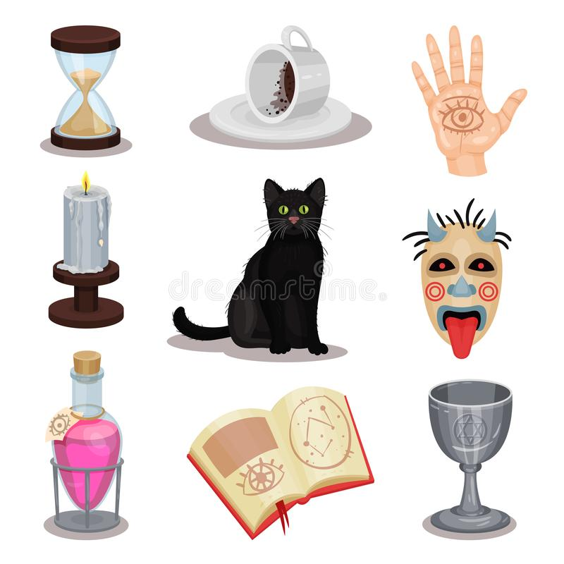 Плоский набор вектора значков divination Ритуальные атрибуты Черный кот, чашка с землями кофе, зелье, книга, свеча, страшная бесплатная иллюстрация