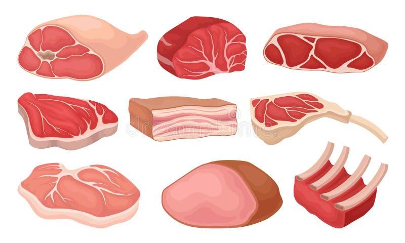Плоский набор вектора мясных продуктов Свежая говядина, свинина, копченая ветчина, сырцовые нервюры, шпик Элементы для плаката мя иллюстрация штока