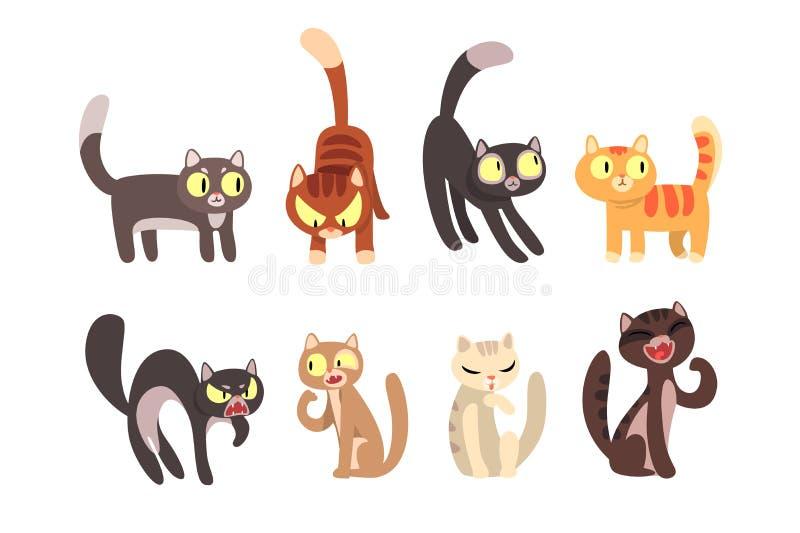 Плоский набор вектора различных котов Смешные персонажи из мультфильма Домашние любимцы Милые домашние животные Элементы для плак иллюстрация штока