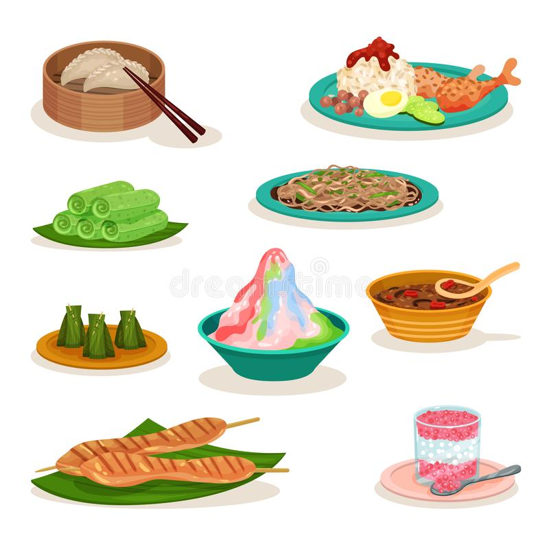Плоский набор вектора различных малайзийских блюд вкусная еда азиатская кухня Кулинарная тема иллюстрация штока
