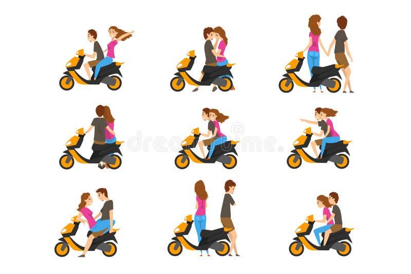 Плоский набор вектора с любя парами и скутером Маленькая девочка и парень с различными эмоциями Характер людей мультфильма иллюстрация штока