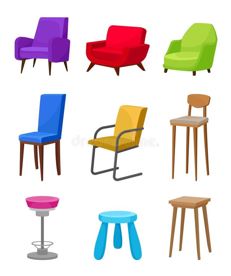 Плоский набор вектора удобных стульев и кресел Мебель для живущей комнаты, бара кафа и детского сада иллюстрация штока