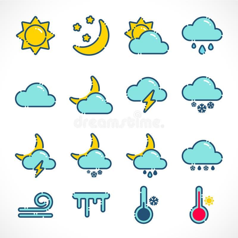 Плоский набор значков погоды плана иллюстрация вектора
