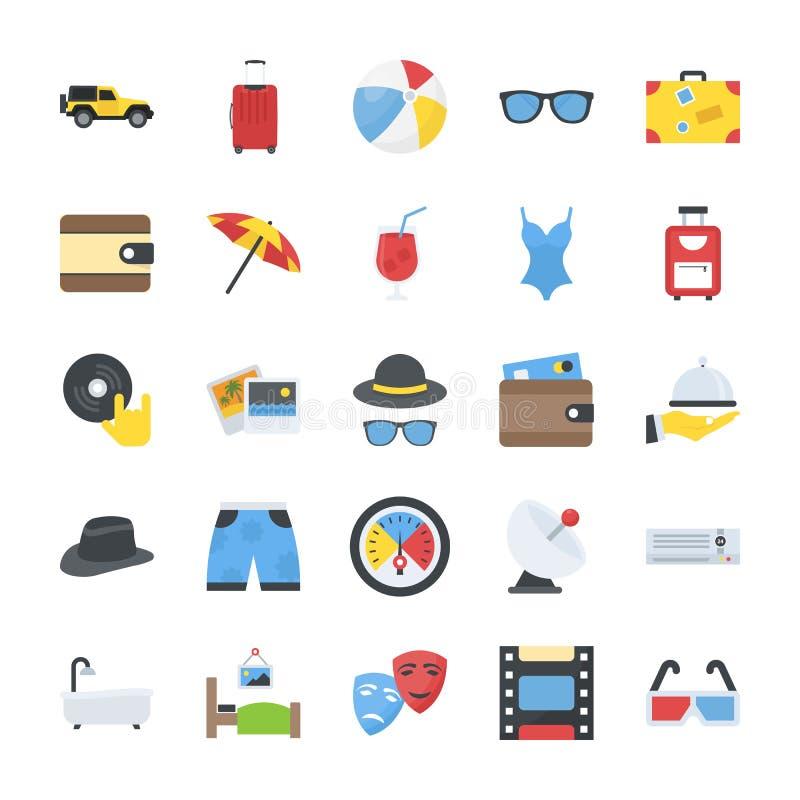 Плоский пакет значков перемещения и PlacesPack значков вектора путешествовать и наслаждения плоских бесплатная иллюстрация