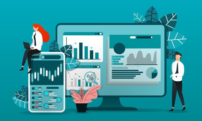 плоский персонаж из мультфильма иллюстрация вектора для технологии, дела работник с монитором который исследуя подсвечник, диагра бесплатная иллюстрация