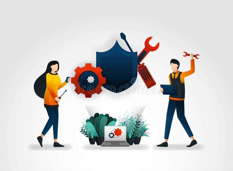 плоский персонаж из мультфильма люди ремонтирующ и поддерживающ системы безопасности с инструментами и экранами улучшить surveil  иллюстрация вектора