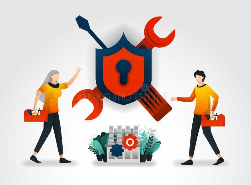плоский персонаж из мультфильма техники уносят обслуживание и ремонты к системам безопасности в фабриках и индустриях уменьшите s иллюстрация вектора
