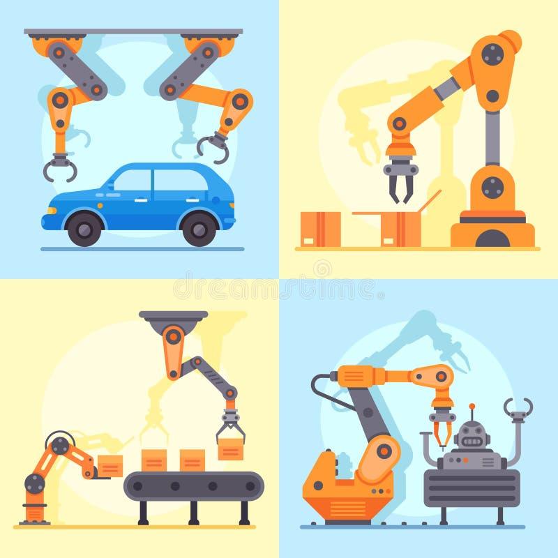 Плоский промышленный транспортер фабрики Механически рука для управления производства автоматизации, робототехнического вектора о бесплатная иллюстрация