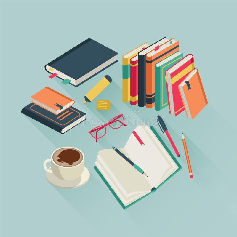 Плоский рабочий стол книг Открытое исследование журнала текста чтения книги прочитало литературу школы студента, красочную иллюст бесплатная иллюстрация