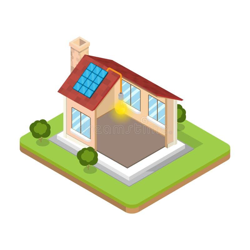 Плоский равновеликий вектор здания альтернативной энергии бесплатная иллюстрация