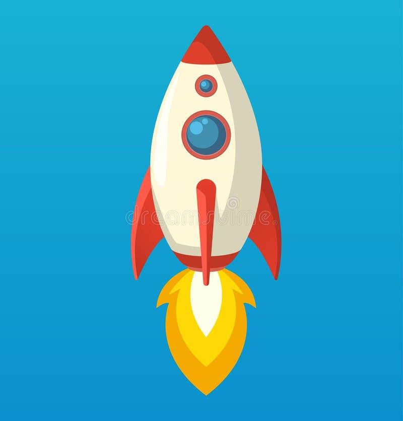 Плоский равновеликий значок корабля ракеты символа космоса иллюстрация штока