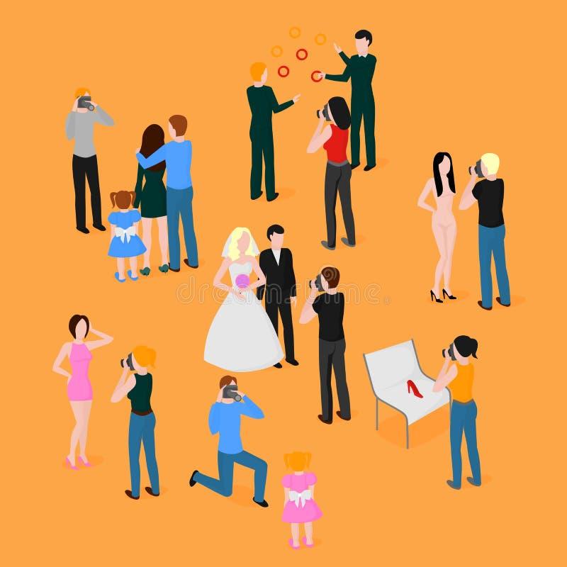 Плоский равновеликий комплект фотографов Фотография свадьбы, семьи и детей Папарацци, мода журналиста, репортаж и advertisi иллюстрация штока