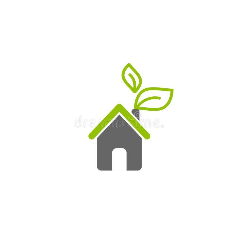 Плоский серый дом с зелеными листьями Простой силуэт дома с зелеными крышей и печной трубой икона бесплатная иллюстрация