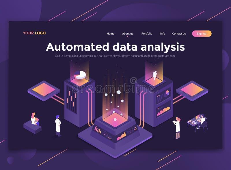 Плоский современный дизайн шаблона вебсайта - автоматизированного анализа данных бесплатная иллюстрация