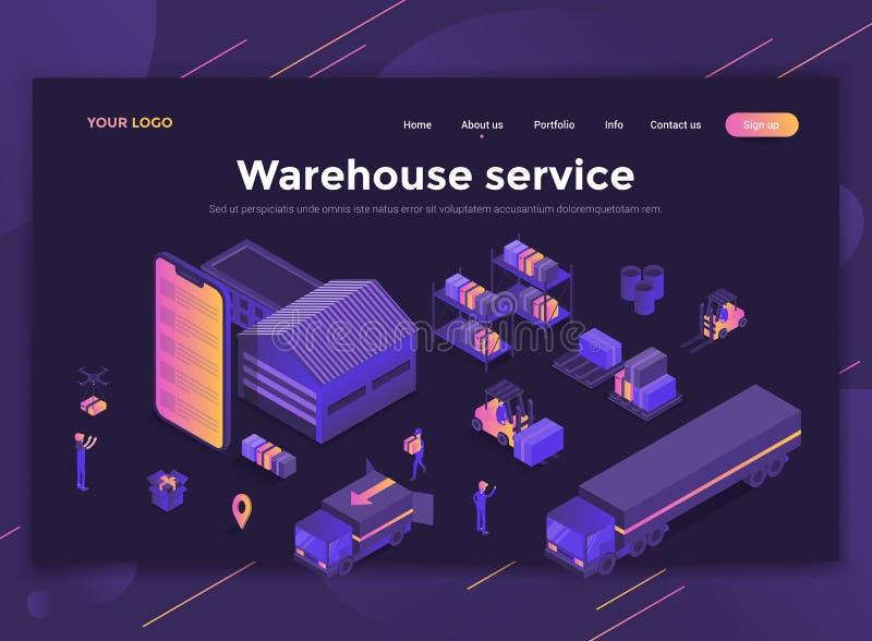 Плоский современный дизайн шаблона вебсайта - обслуживания склада иллюстрация штока
