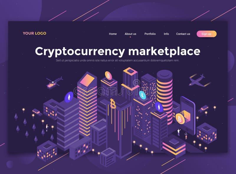 Плоский современный дизайн шаблона вебсайта - marketpl Cryptocurrency иллюстрация вектора