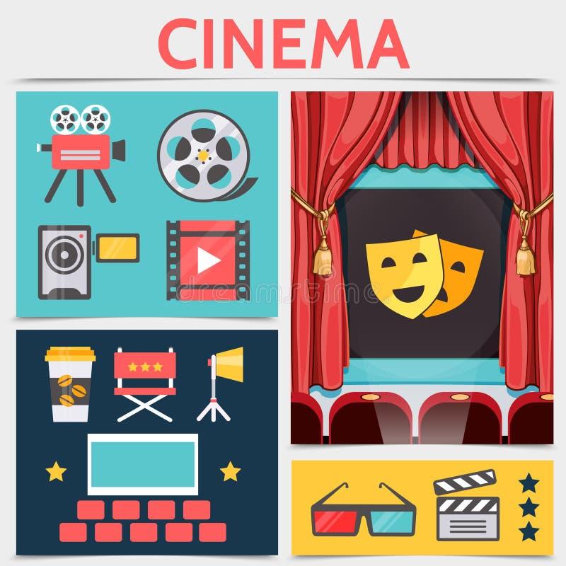 Плоский состав значков кинемотографии бесплатная иллюстрация