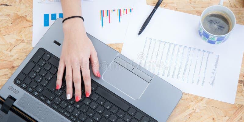 Плоский стол домашнего офиса положения Место для работы женщин с женскими руками стоковые изображения