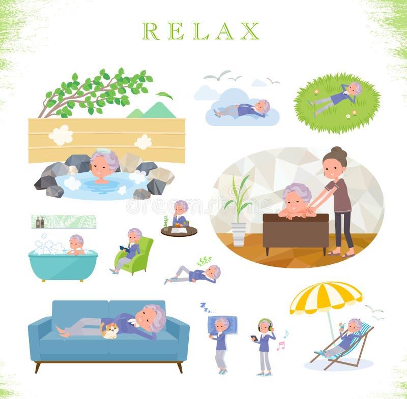 Плоский тип голубое цельное старое women_relax иллюстрация штока