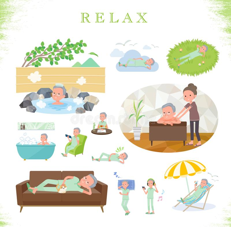Плоский тип терпеливое старое men_relax бесплатная иллюстрация