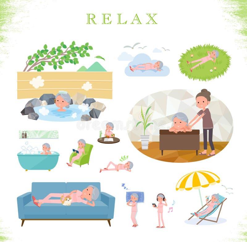 Плоский тип терпеливое старшее woman_relax бесплатная иллюстрация