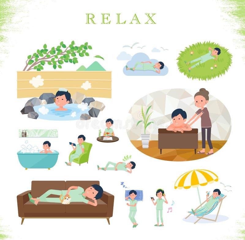 Плоский тип терпеливое men_relax иллюстрация штока