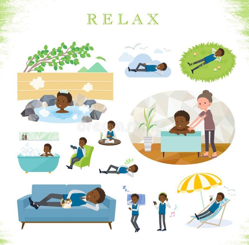 Плоский тип black_relax школьника бесплатная иллюстрация