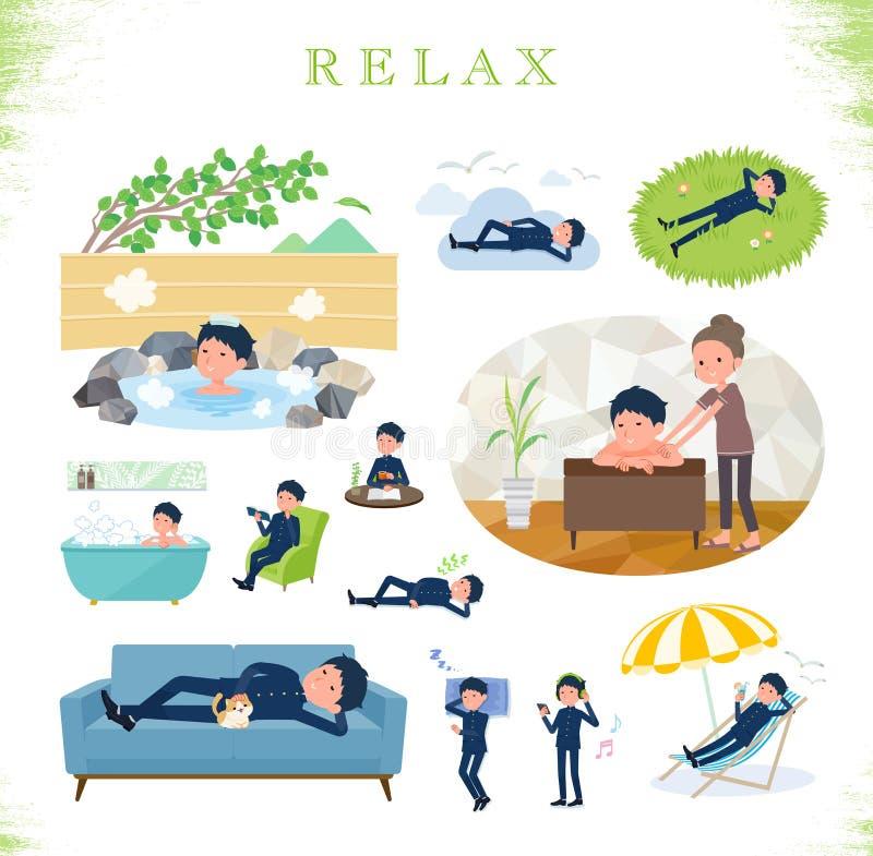 Плоский тип gakuran_relax школьника иллюстрация штока