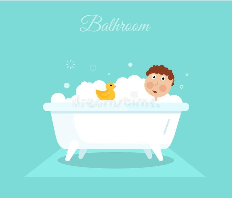 Плоский усмехаясь мальчик при желтая утка принимая ливень в ванне Иллюстрация гигиены шаржа иллюстрация вектора