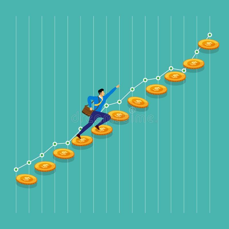 Плоский успех бизнесмена идеи проекта бежит на росте денежной массы вверх иллюстрация штока