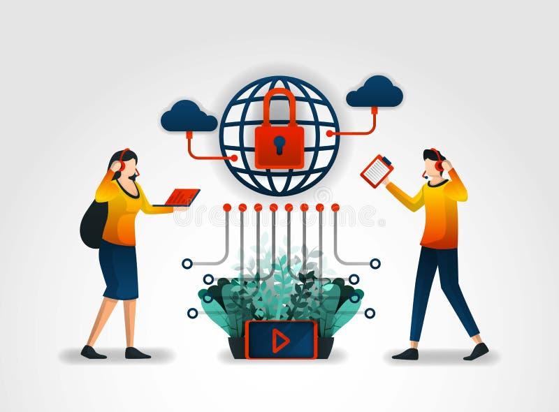 плоский характер Провайдер услуг интернеты обеспечивают потребителей с обслуживанием клиента и системами безопасности помогать ин иллюстрация вектора