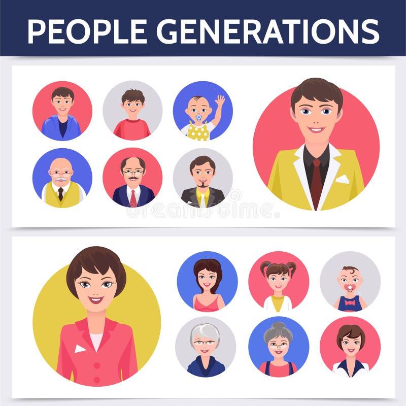 Плоский шаблон процесса старения людей иллюстрация штока
